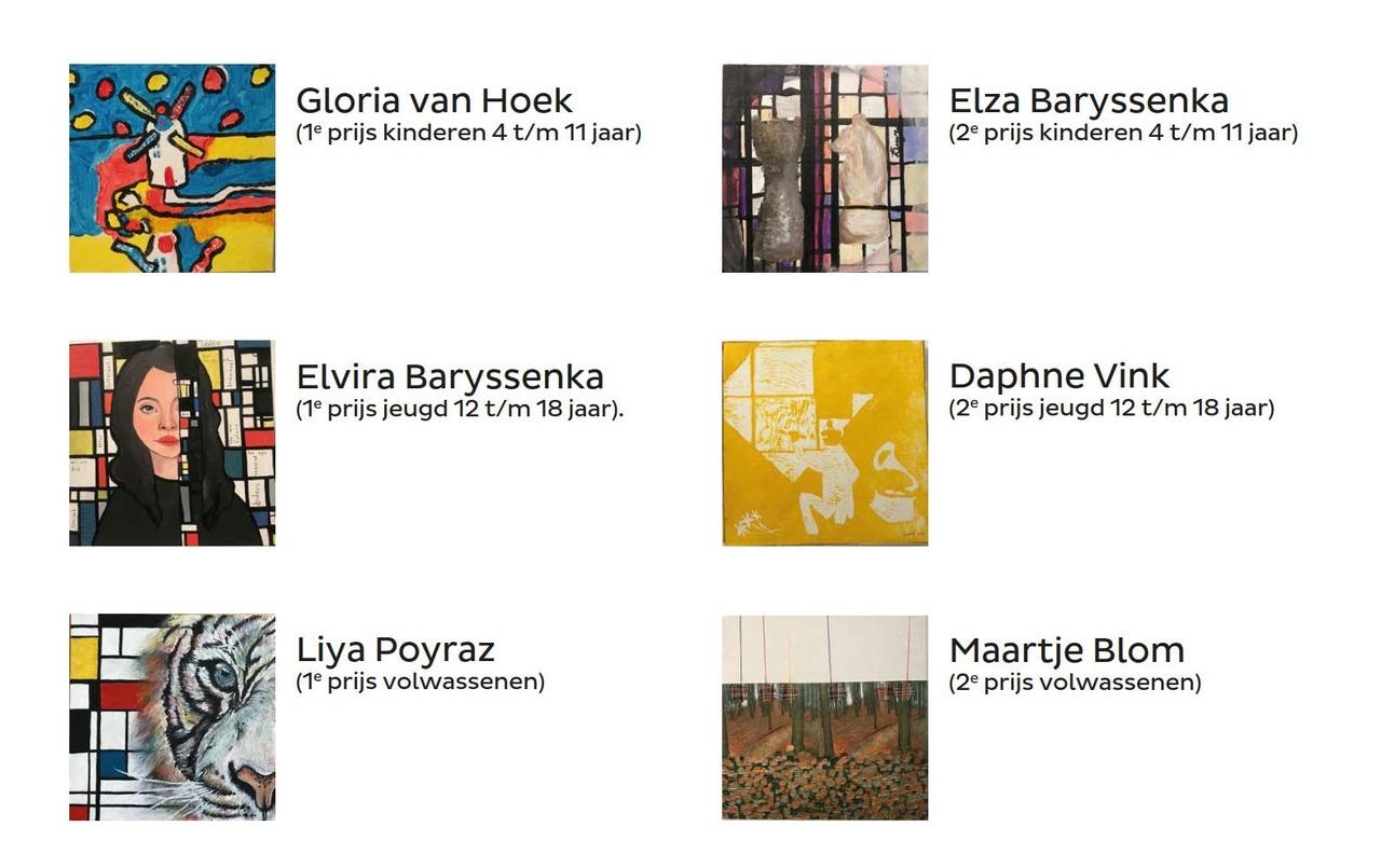Schilderwedstrijd Geïnspireerd door Mondriaan 2020 - alle winnaars