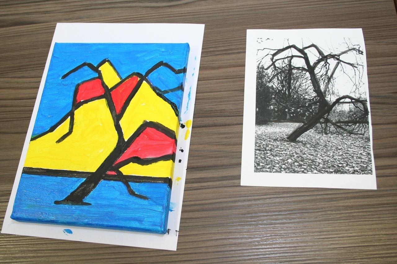Kinderworkshop boom abstraheren in het Mondriaanhuis